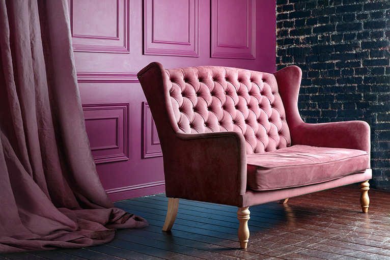 Pink antique style chair