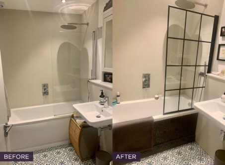 Jess' bathroom before and after.