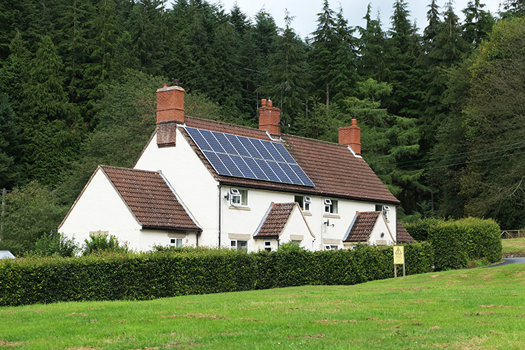 UK home with solar panels