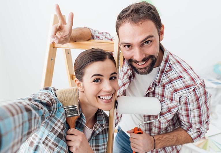 Painter team smiling at camera