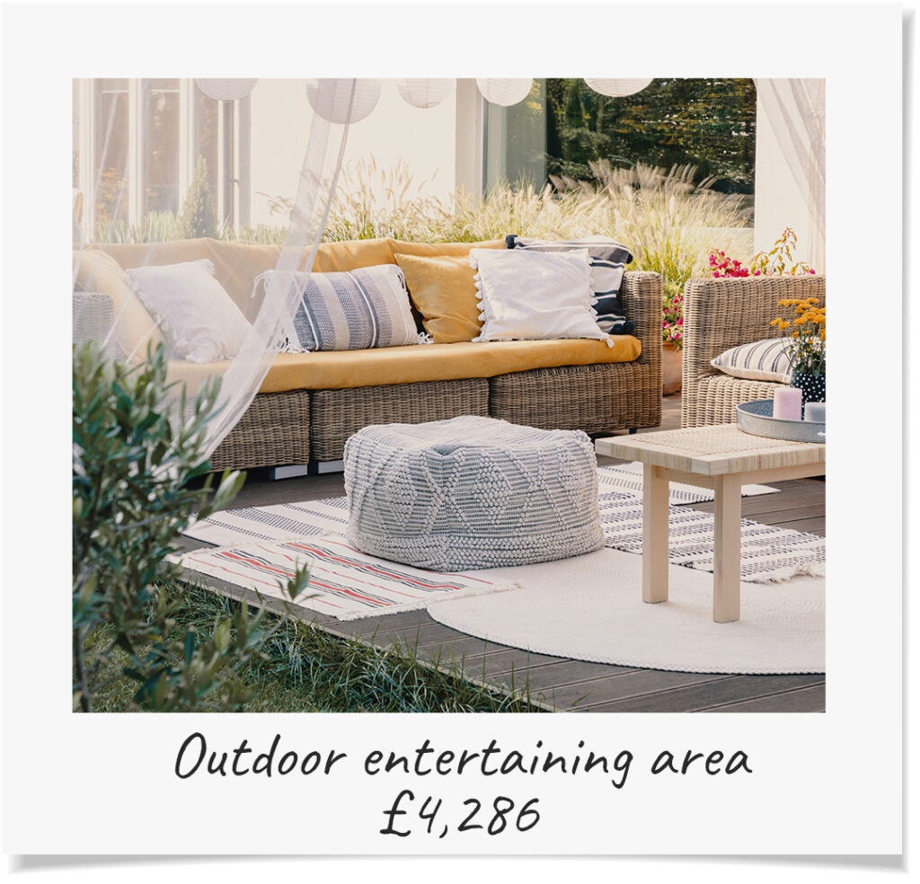 An outdoor entertaining area adds £4,286 to your property's value
