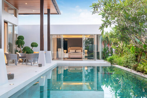 Modern outdoor space with swimming pool