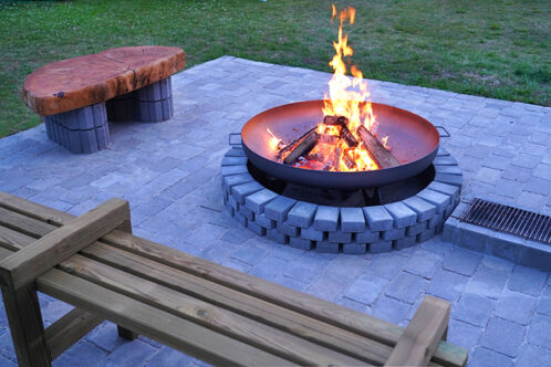 Fire pitin garden on a paved patio