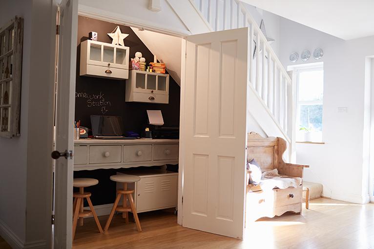 Closet office (cloffice) built under the stairs