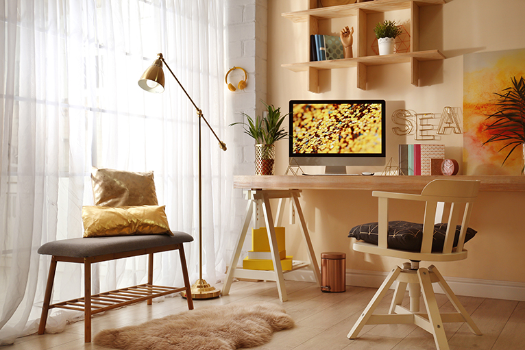 Wooden desk and furniture