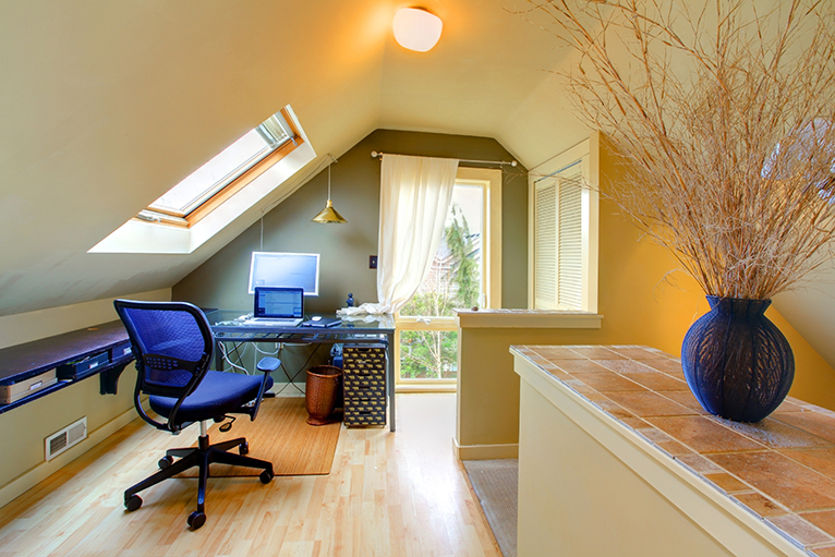 Home office with skylight and downlight