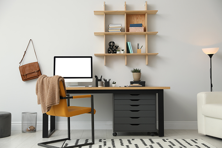 Modern desk with fixed desk chair