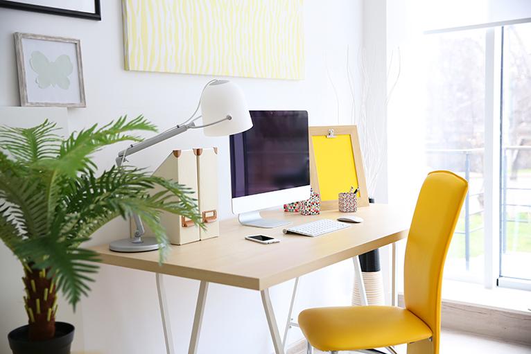 Home workspace next to window