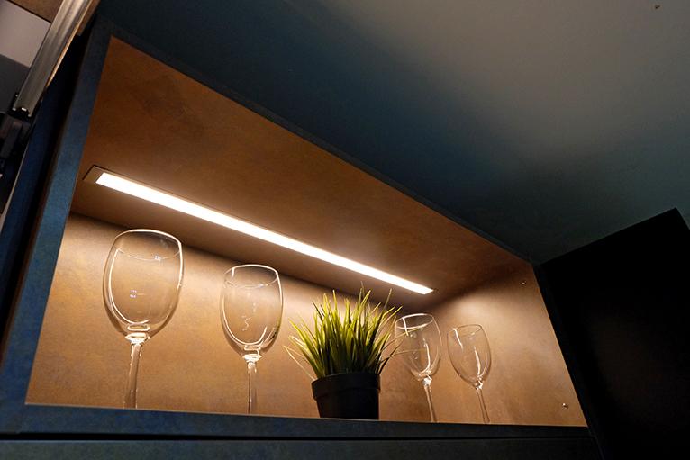 LED lighting built into open kitchen shelf
