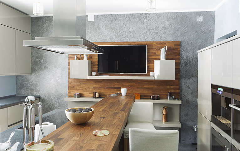 Modern kitchen with wood on feature wall