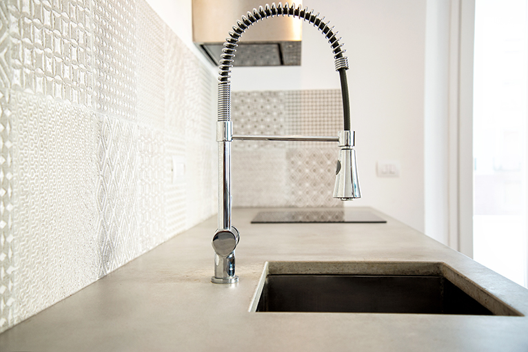 Cement countertop with built in sink