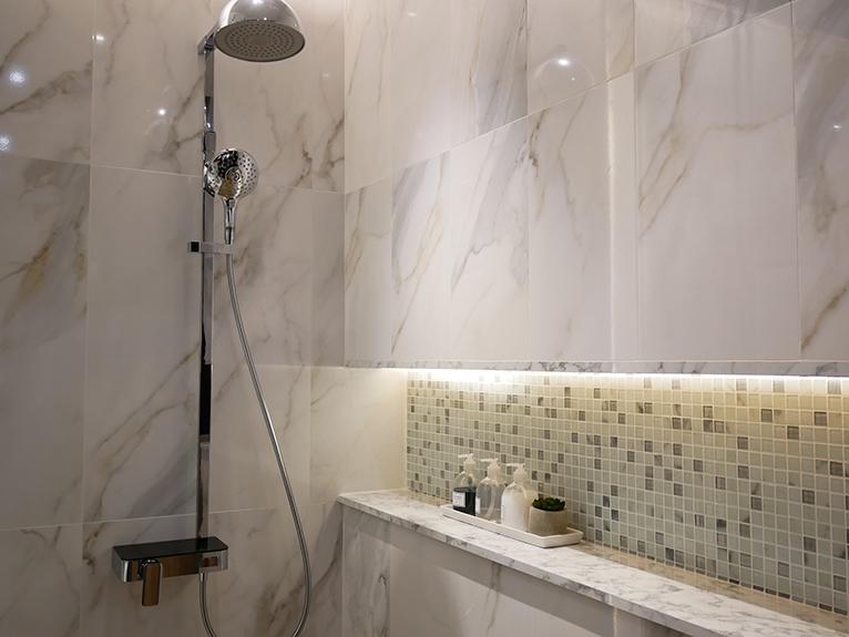 Full wall shower niche