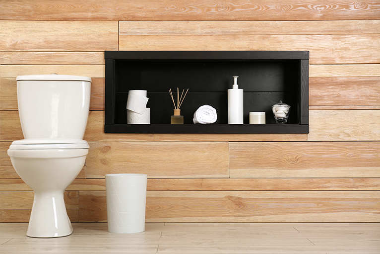 Wall niche next to toilet