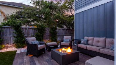 Firepit on patio in back garden