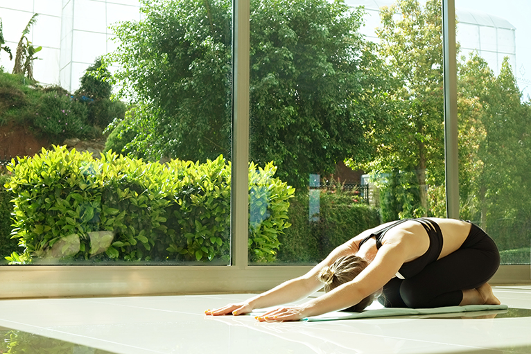 Gardening and landscaping trends: Person doing yoga in front of large window in garden room