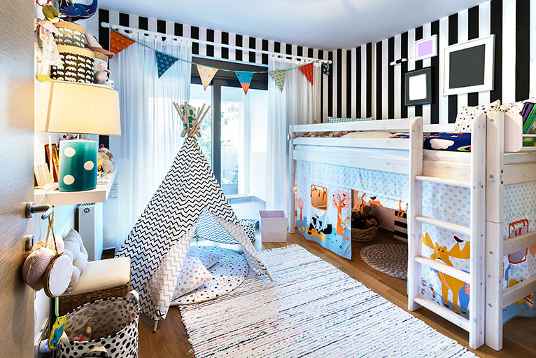 Kids bedroom with bunk bed and teepee