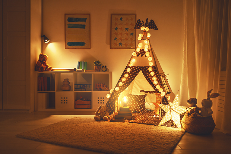 Childrens' playroom with lighting
