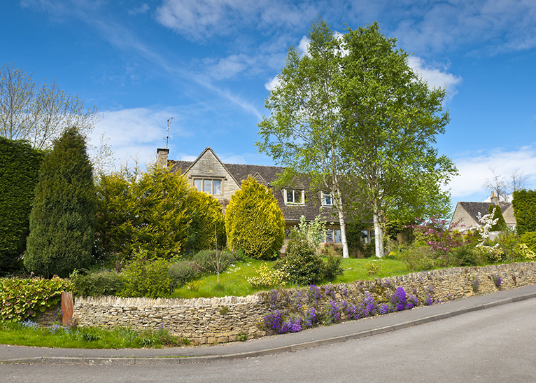 Rural home with beautiful front garden in UK