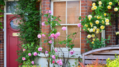 English home with bright flowers outside