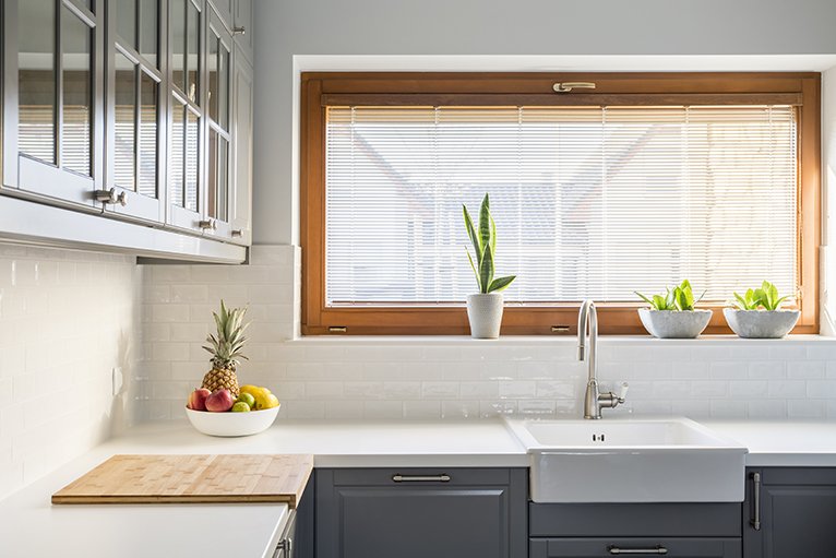 Kitchen with clean white countertop