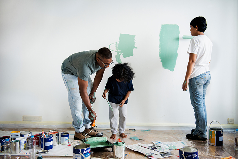 Summer home improvement ideas: Family painting room in mint green