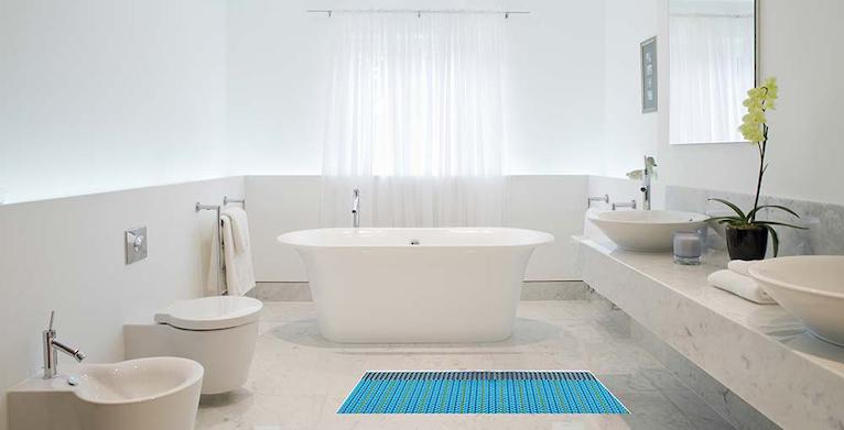 Electric underfloor heating in bathroom