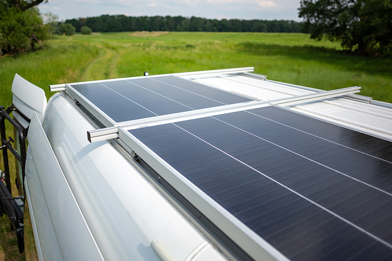 Solar panels on camper van roof