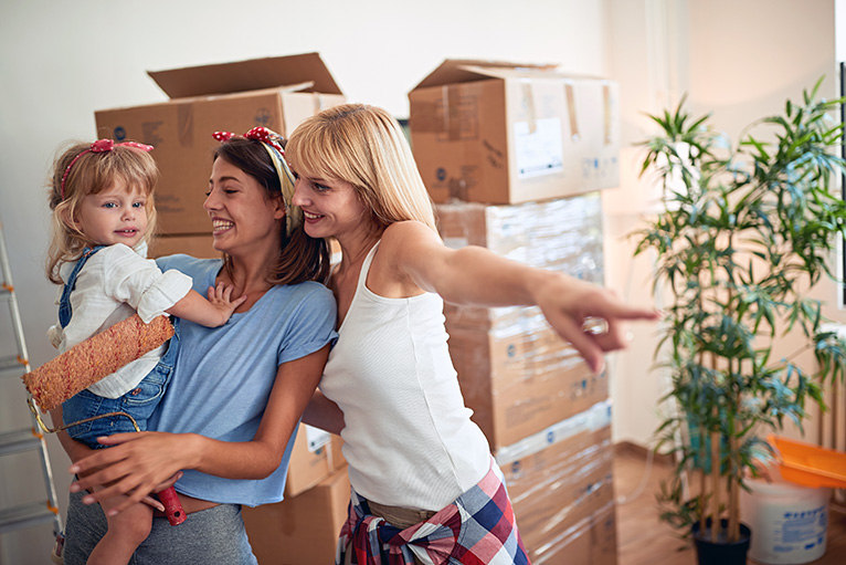 Couple moving into new home with child