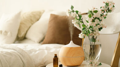 Aroma oil diffuser on bedside table