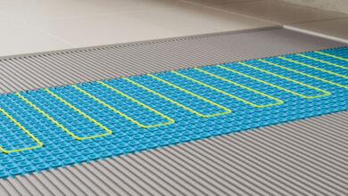 Electric underfloor heating being laid