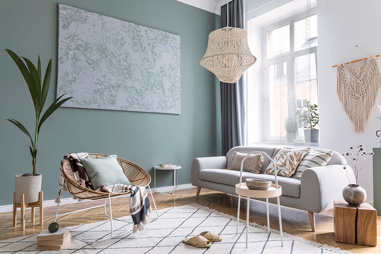 Pale green interior design