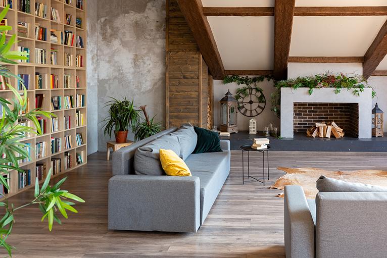 Minimalist dark loft interior in country house