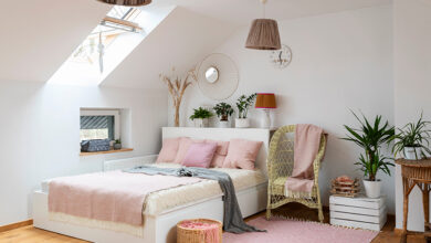 Pink and white attic bedroom