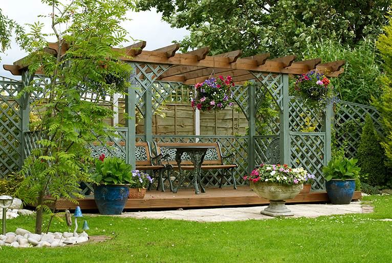 Pergola in back garden