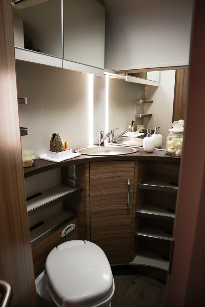 Shelves and cabinets in small bathroom