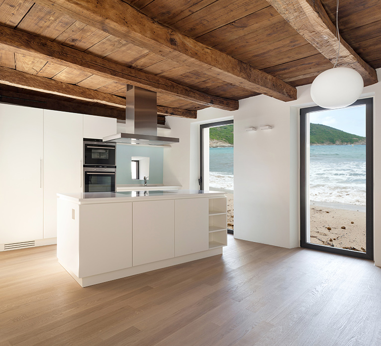 Open plan kitchen with sea view