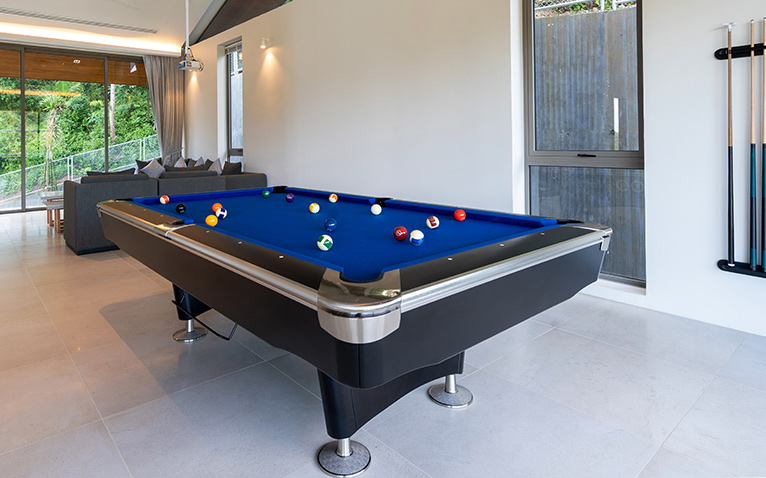 Entertaining space with billiard table