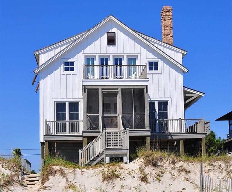 Raised beach house on poles