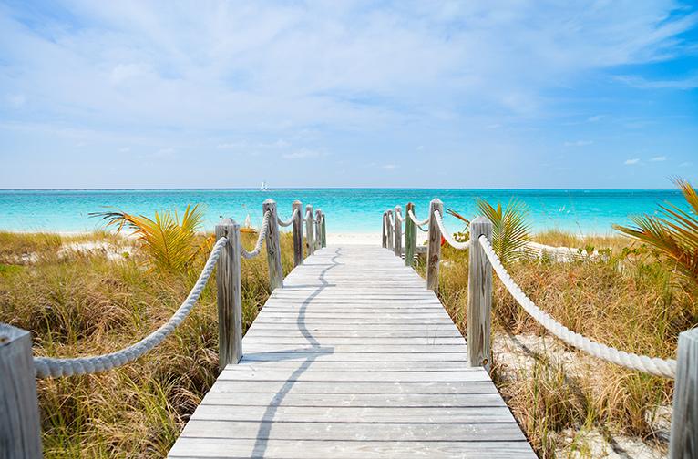 Sandy boardwalk leading to the beach