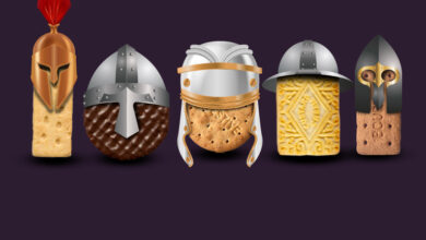 Biscuits with medieval helmets