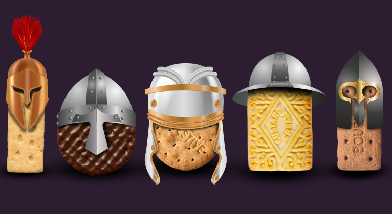 Biscuits wearing medieval helmets, ready for the battle of the biscuits survey.